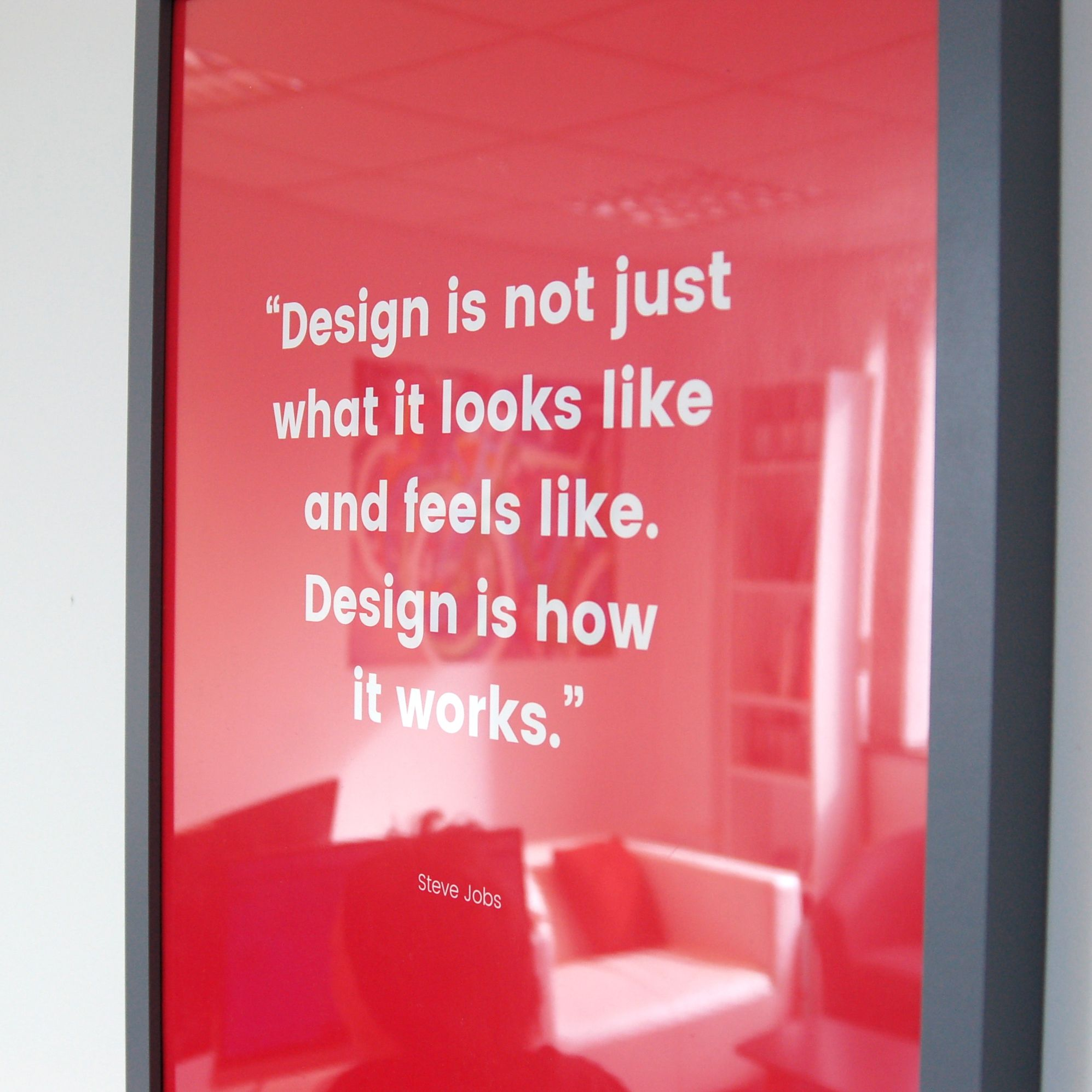 Infiniti Graphics office design ely Steve jobs quote